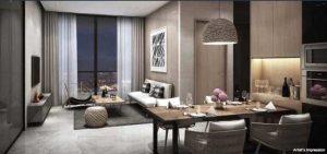phòng khách căn hộ Empire City 1 phòng ngủ